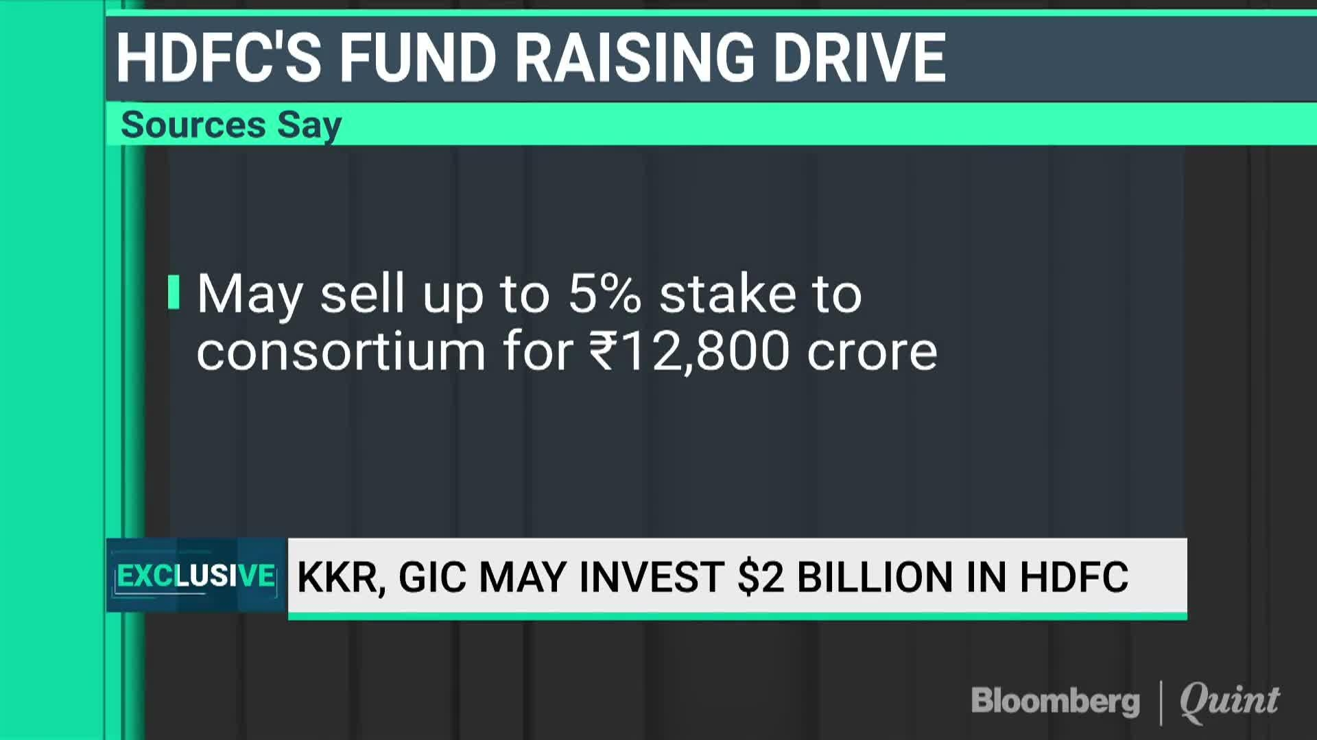 KKR, GIC May Invest $2 Billion In HDFC - Bloomberg Quint