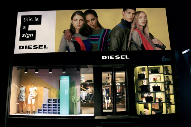 Diesel's stores in Hyderabad and (right) Delhi: As prime real estate in metros is expensive, will Diesel's large stores need trimming?