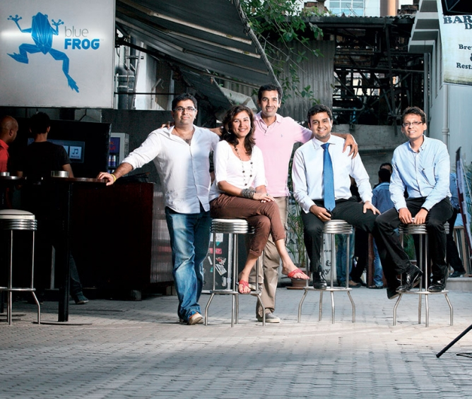 Restaurant owners who have recently set up shop in Lower Parel's Todi Industrial Estate: (from left) Simran Mulchandani of Blue Frog, Tarini Mohindar of Cafe Zoe, Nikhil Chib of Busaba, Param Gandhi of Zaffran, and Gaurav Todi of Todi & Co