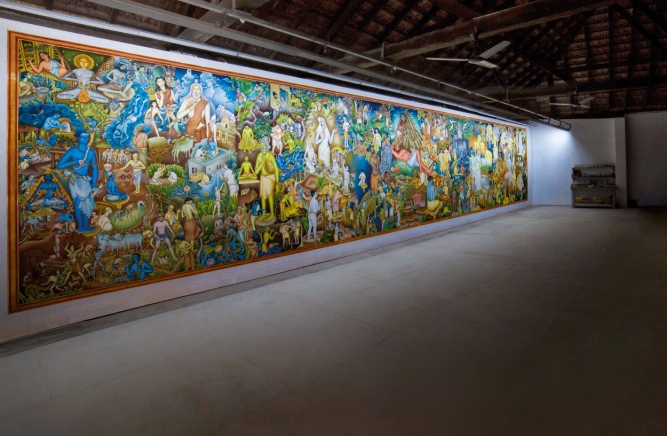 Painter and cartoonist P.K. Sadanandan's 15-metre-by3-metremural, last displayed at the 2016 edition of the Kochi-Muziris Biennale, will be installed at the Cochin International Airport's Terminal 3