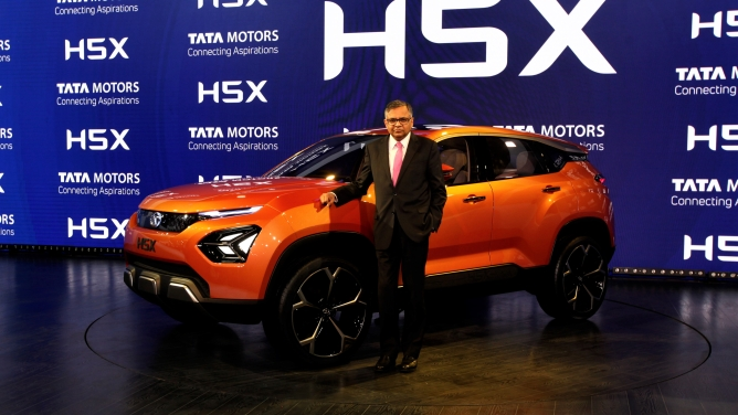 N. Chandrasekaran, chairman, Tata Group at the unveiling of the H5X concept car at Auto Expo 2018. Photo by Sanjay Rawat