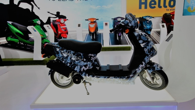 Hero Electric's electric scooter on display at Auto Expo 2018. Photo by Sanjay Rawat.