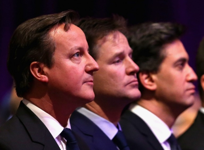 From left to right: David Cameron; Nick Clegg, Ed Miliband. (Credits: AFP PHOTO / POOL / CHRIS JACKSON)