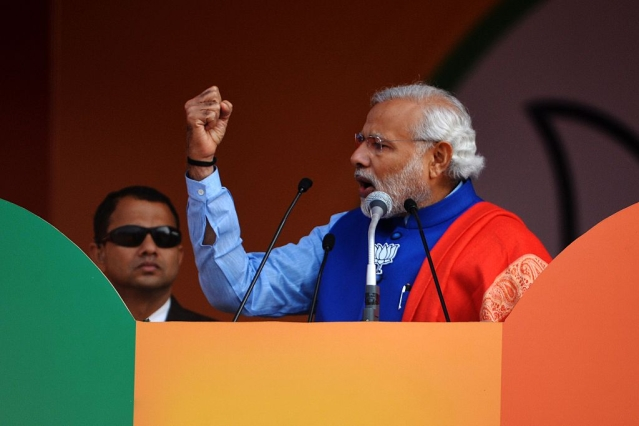 Prime Minister Narendra Modi addressing a rally. (Chandan Khanna/AFP/Getty Images)
