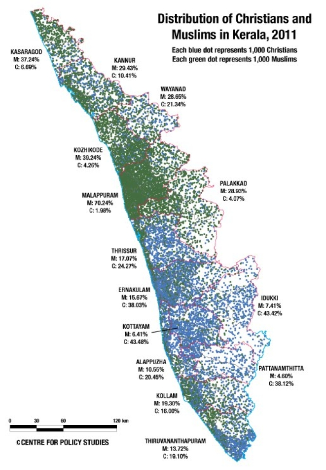 Christians and Muslims in Kerala, 2011