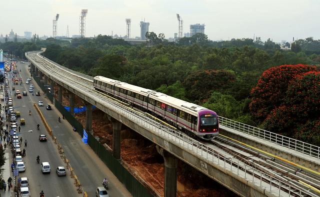 A Namma Metro train in Bengaluru. (Manjunath Kiran/AFP/GettyImages)