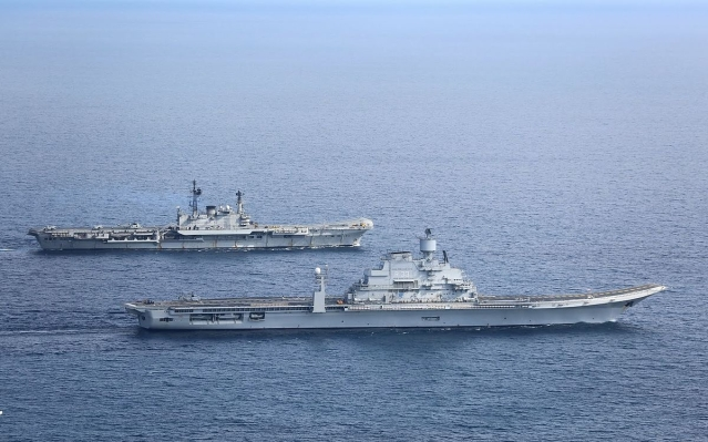 Blueprint to bluewater the indian navys journey from carriers to indian navys aircraft carriers ins viraat and vikramaditya in the arabian sea in january 2014 malvernweather Image collections