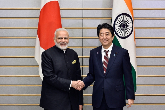 Prime Minister Narendra Modi and his Japanese counterpart Shinzo Abe in Tokyo. FRANCK ROBICHON/AFP/Getty Images)