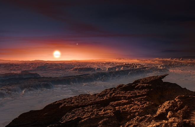An artist's impression of a view of the surface of the planet Proxima b orbiting the red dwarf star Proxima Centauri, the closest star to the Solar System. (M. KORNMESSER/AFP/Getty Images)