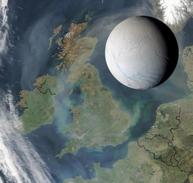 Saturn's moon Enceladus is only 505km across, small enough to fit within the length of the UK, as illustrated here. Photo credit: NASA/Wikimedia Commons
