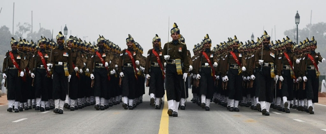 An Indian army contingent rehearses for Indian Republic Day parade along Rajpath in New Delhi. (MONEY SHARMA/AFP/Getty Images)