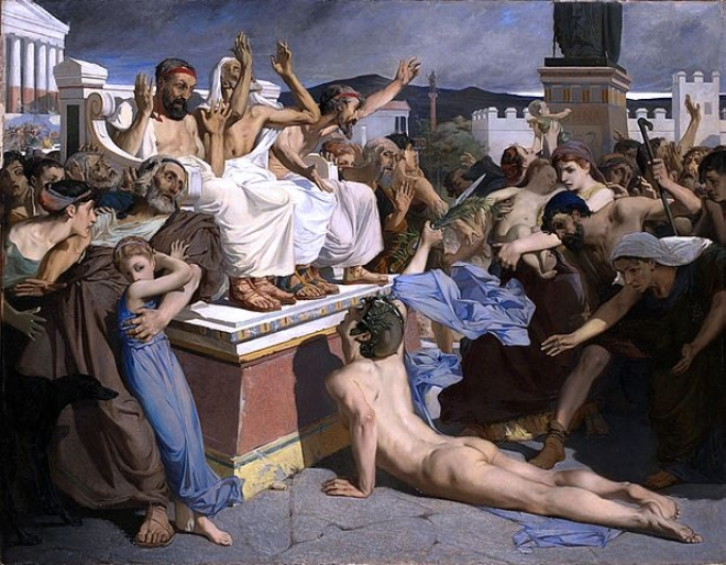 Pheidippides giving word of victory after the Battle of Marathon (Luc-Olivier Merson/Wikimedia Commons)