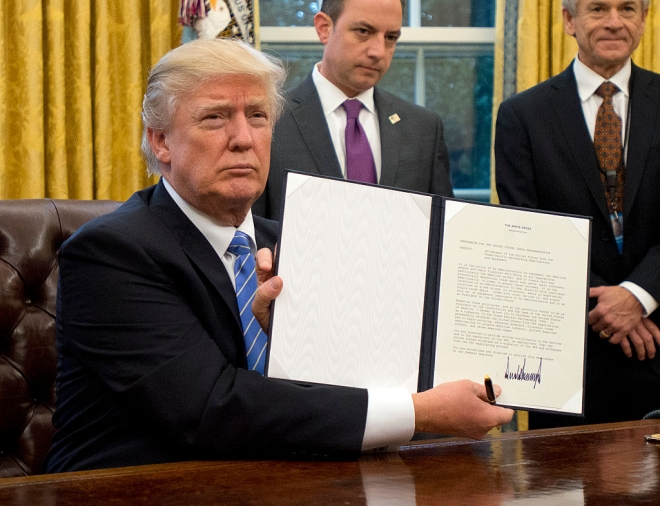 Donald Trump Signs Executive Order Withdrawing US From  Trans-Pacific Partnership