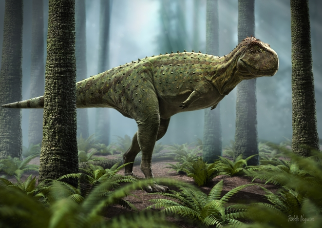 Representation of Rajasaurus. Artwork titled: Silence in forest (Photo Copyright: Rodolfo Nogueira)