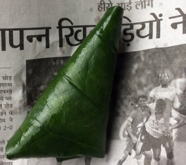 The tambula, the Sanskrit word for the tidy package of areca nut, slaked lime (choona) and catechu (kattha) in a glorious acrid green leaf.