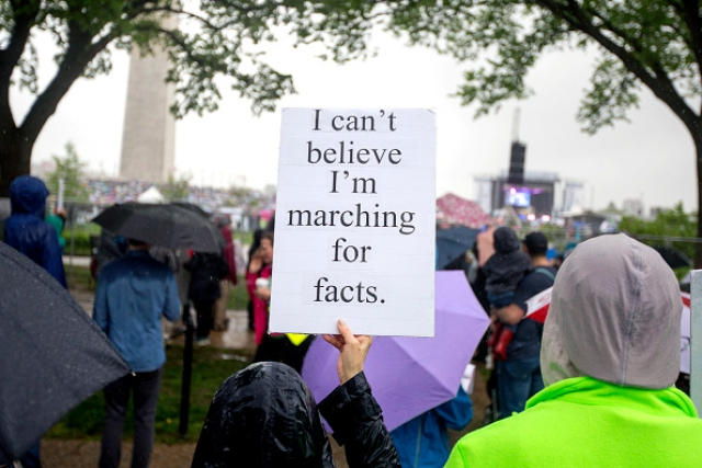 Scientists and supporters at a March for Science rally in Washington, DC. (Jessica Kourkounis/Getty Images)