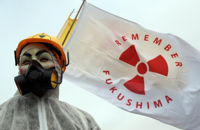 A masked protestor at the first anniversary of Fukushima (Matt Cardy / Getty Images)
