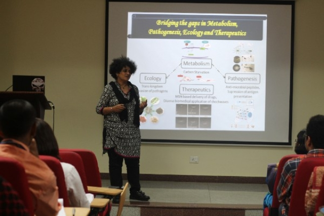 Dr Dipshikha Chakravortty of the Indian Institute of Science delivering a talk at the International Conference on Women in Science, Research and Innovation, 2017. (Photo: Christ University)