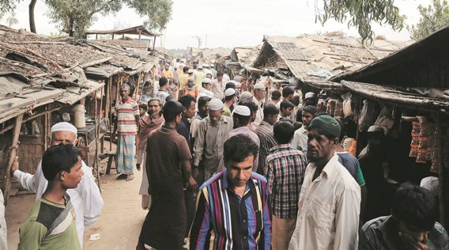 Rohingya Muslims living illegally in Jammu.
