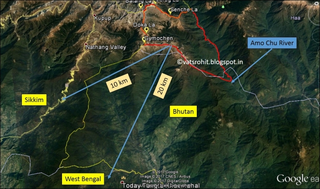 Map showing the distance from the ridge-line to Sikkim and West Bengal (Source:Google Earth)