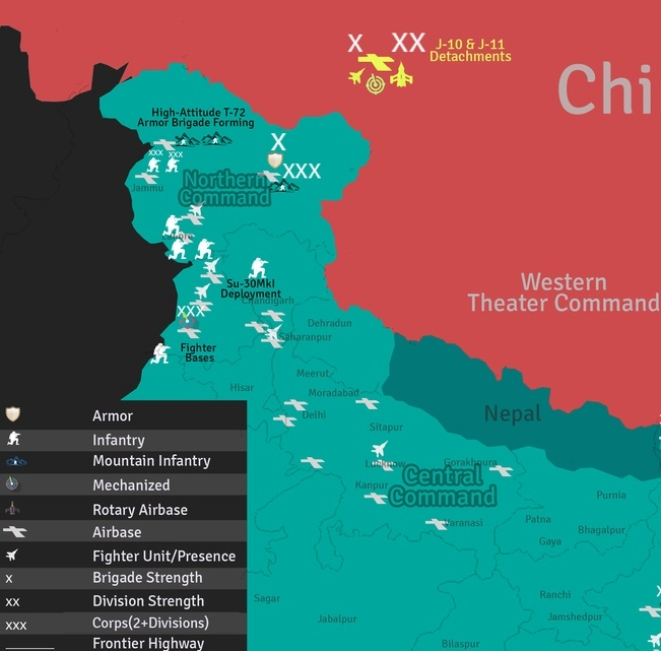 Sino-Indian border deployments (units located via IHS Jane's database, August 2016)