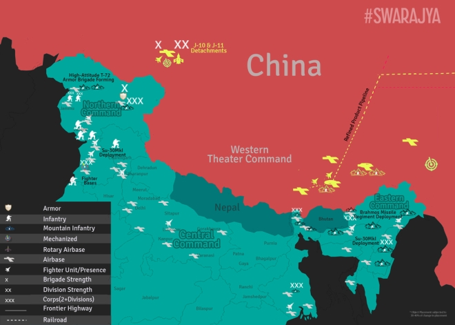 Location of air bases along the Sino-Indian border.