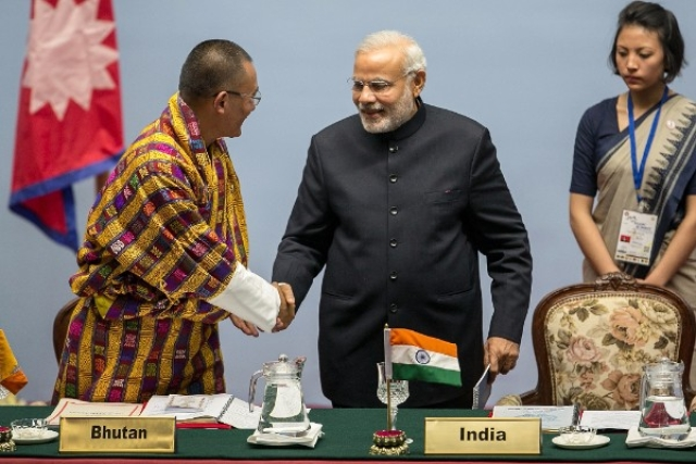 Prime Minister of Bhutan Tshering Tobgay with Prime Minister Narendra Modi (Narendra Shrestha/Getty Images)