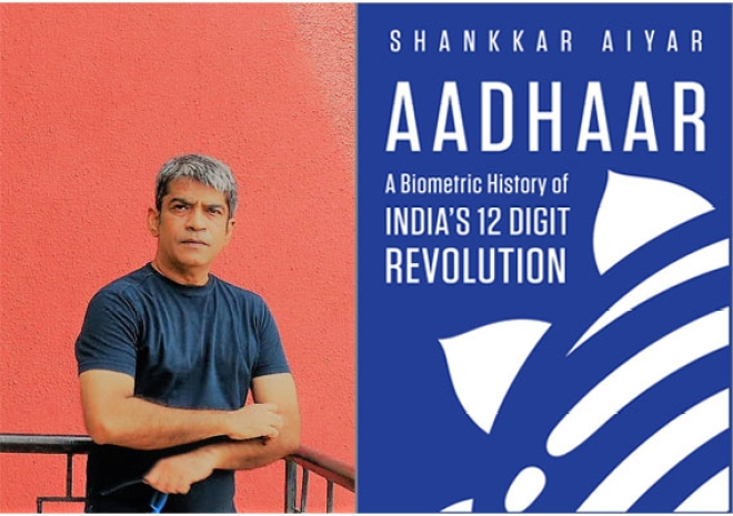 Left: Author Shankkar Aiyar;  Right: Book Cover of Aadhaar: A Biometric History of India's 12-Digit Revolution