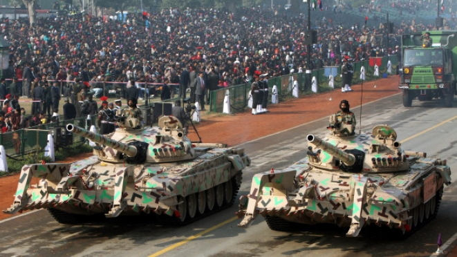 T-72 FWMP Tanks pass through the saluting base on Rajpath during the full dress rehearsal of the Republic Day on 23 January 2012 in New Delhi, (Mohd. Zakir/Hindustan Times via GettyImages)