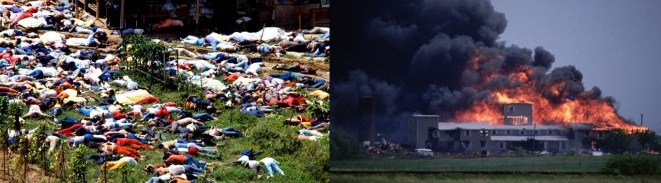 Jonestown cult mass suicide, left, and Branch Davidians cult goes up in flames, right
