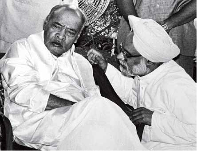 Former prime minister P V Naraasimha Rao with his finance minister Manmohan Singh