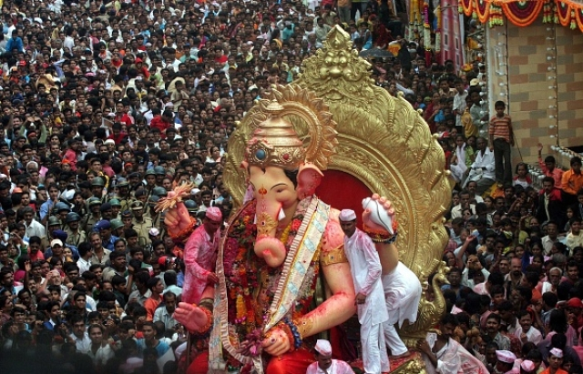 The Lal Baug cha Raja in Mumbai. (Kunal Patil/Hindustan Times via Getty Images)