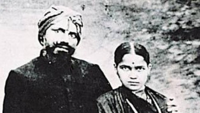Subramaniya Bharathi and his wife Chellamma.
