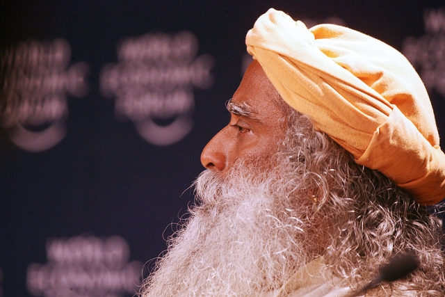 Sadhguru Jaggi Vasudev, founder of Isha Foundation in India listens during an interactive session on the last day of the World Economic Forum 28 January 2007 in Davos. (JOEL SAGET/AFP/Getty Images)