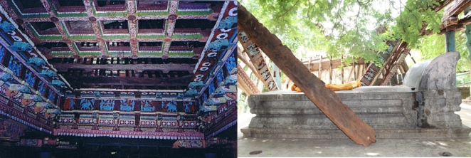 (Left) 2005: Garishly painted wooden roof still stands (right) 2017:complete roof structure has collapsed