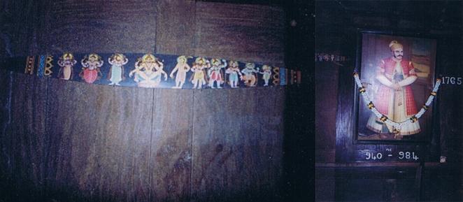 Clearly a latter period style Dasavatara shield; Painting of Velu Thampi