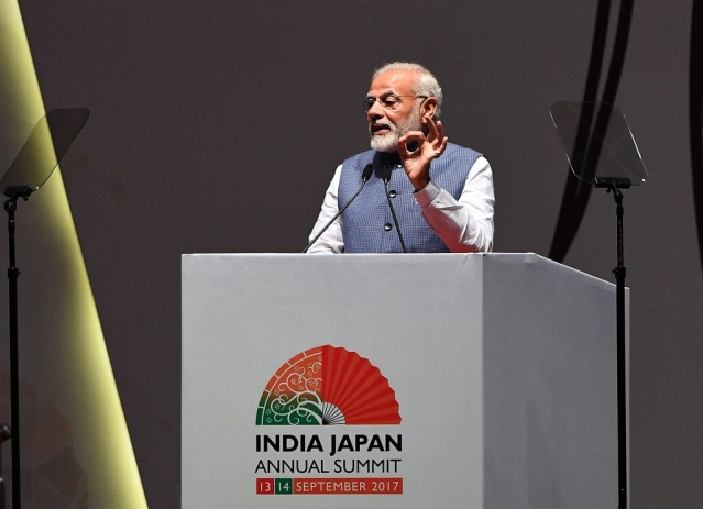 Prime Minister Narendra Modi delivers a speech in Gandhinagar. (PRAKASH SINGH/AFP/GettyImages)