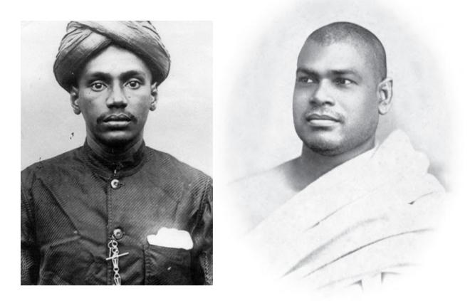 Left: Young V O Chidambaram Pillai ; and right: Swami    Ramakrishananda