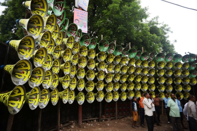 Loudspeakers in Allahabad (SANJAY KANOJIA/AFP/Getty Images)