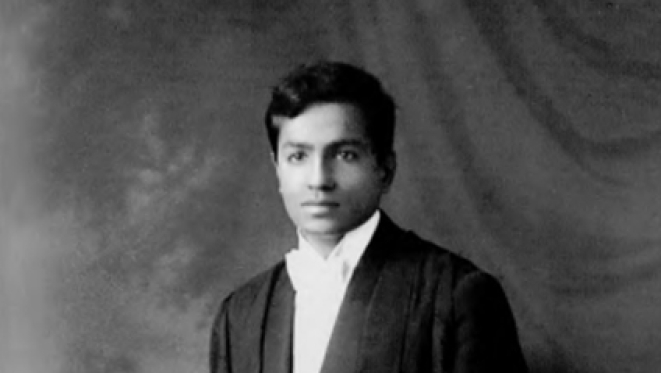 Chandrasekhar  with his PhD degree from Trinity College, Cambridge, 19 December 1933; courtesy Kameshwar C Wali, <i>Chandra A Biography</i>, 1991