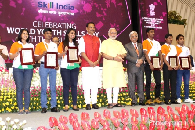 Prime Minister Narendra Modi during a Skill India event.