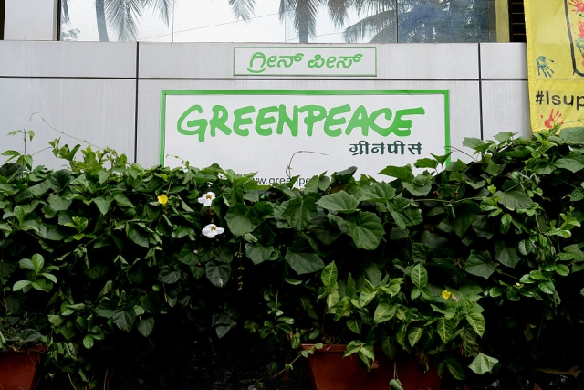 Outside view of Greenpeace India office (Hemant Mishra/Mint via Getty Images)