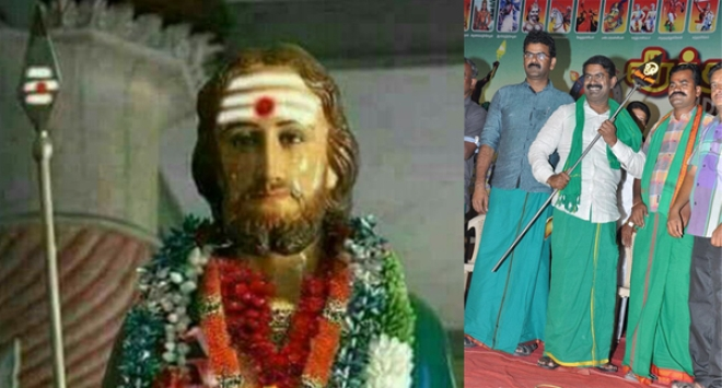 Thomas an apostle who is supposed to have visited not only Indians in India but also 'Indians' in South America according to church-fabricated oral traditions presented like Murugan; Seeman trying to appropriate the 'Vel' of Murugan: Religious appropriation merging with ethnic hate-politics.