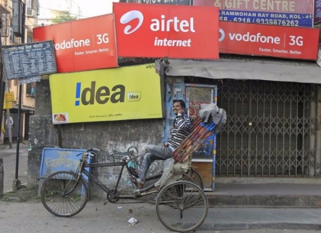 Advertisements for Vodafone, Idea and Airtel