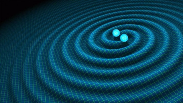 An artist's impression of gravitational waves generated by binary neutron stars. (R Hurt/Caltech-JPL)