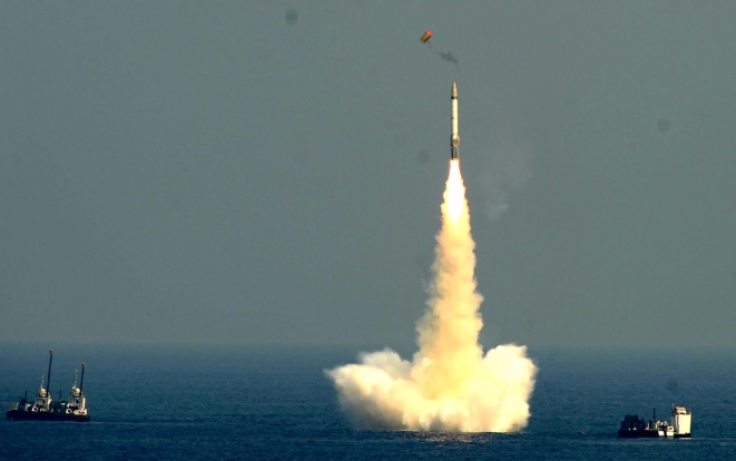 India's K-15 subsurface launched missile test. (Livefist)