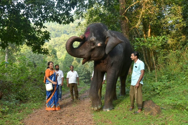 Good bye says Yashaswini as she heads on the last lap of her evening walk (Ram Kumar)