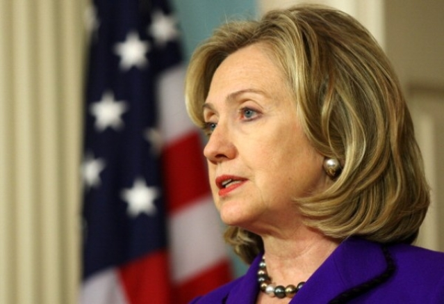 Then US Secretary of State Hillary Clinton making a statement on Libya at the State Department in 2011 in Washington, DC. (Alex Wong/Getty Images)