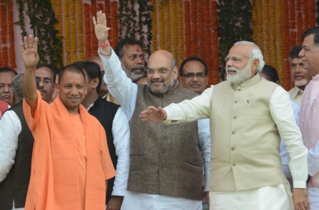 Prime Minister Narendra Modi, BJP president Amit Shah and  Uttar Pradesh  Chief Minister Yogi Adityanath in Lucknow. (Ashok Dutta/Hindustan Times via Getty Images)
