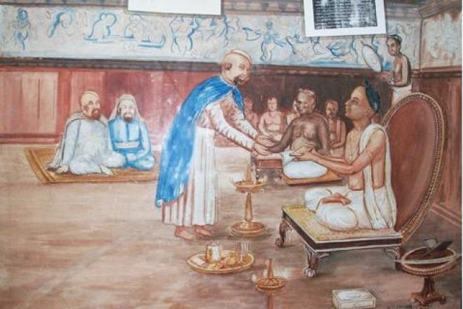 Painting at Mattancheri Synagogue showing the Hindu king granting land and rights to Rabbi.